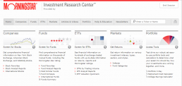 Screenshot of Morningstar Investment Research Center