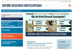 Screenshot of Oxford Research Encyclopedias